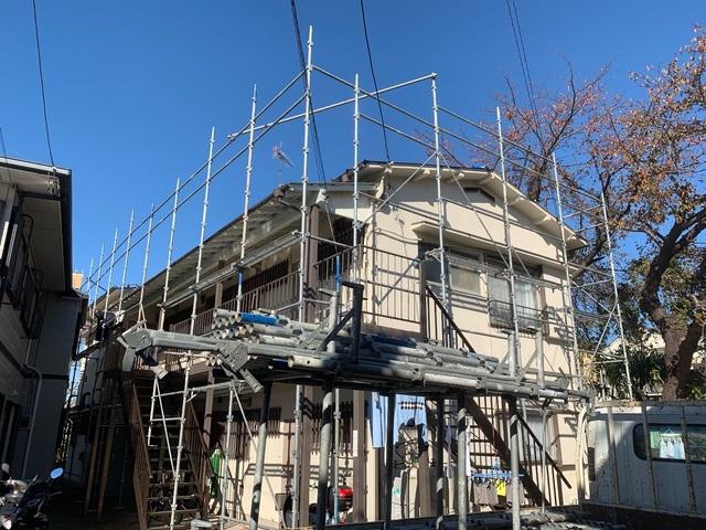 磯子区にて足場工事