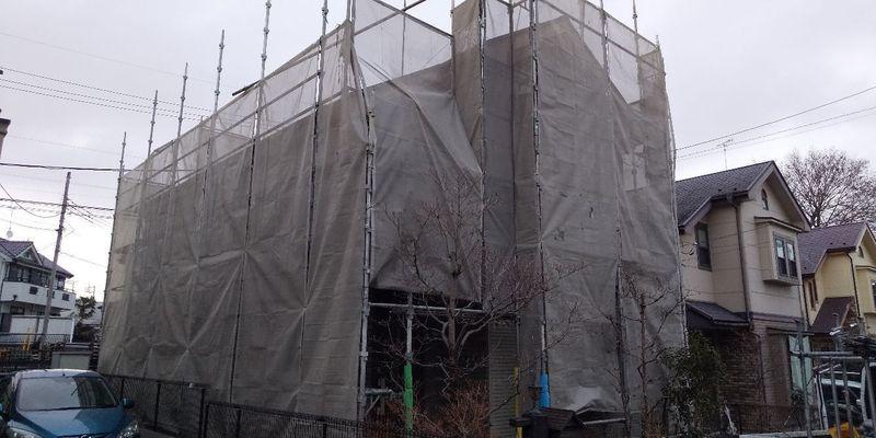あきる野市雨間にて足場工事