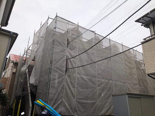 二本松にて足場工事