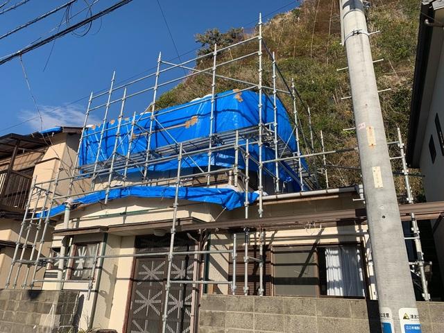千葉県鋸南町にて足場工事