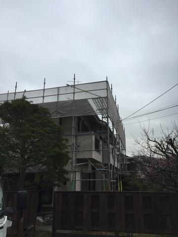 鎌倉市大町にて足場工事
